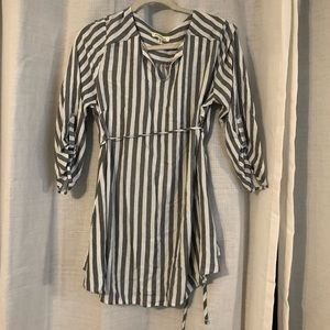 Grey and white striped maternity top
